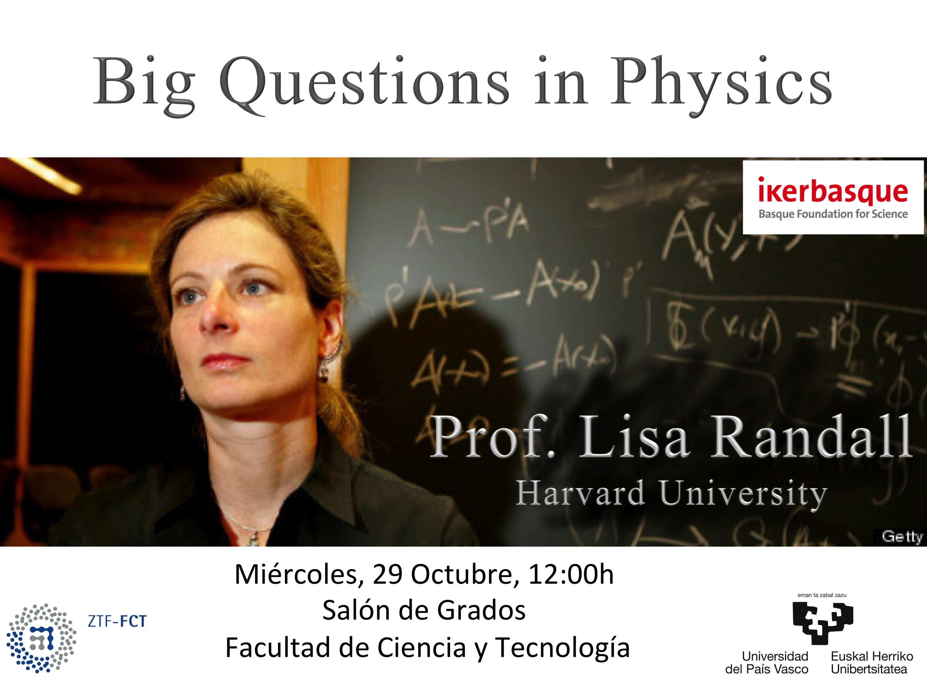 Lisa Randall fisikari ospetsuak hitzaldia emango du bihar UPV/EHUn: Big Questions in Physics