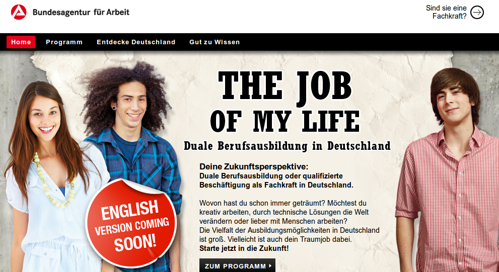 Alemaniako lan eskaintza Europako gazte langabetuentzat: thejobofmylife.de