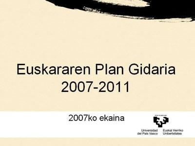 UPV/EHUren Euskararen Plan Gidariaren zirriborroa eta unibertsitateko euskararen bilakaera